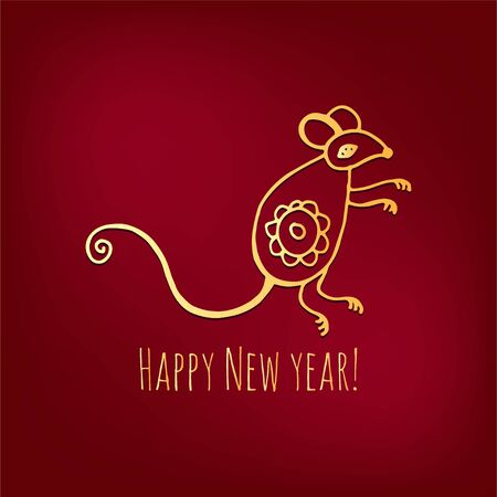 Happy New Year 2020 year of rat Chines style. The Zodiac sign of 2020 yearvector design. Chinese Translation: Happy new year. 版權商用圖片
