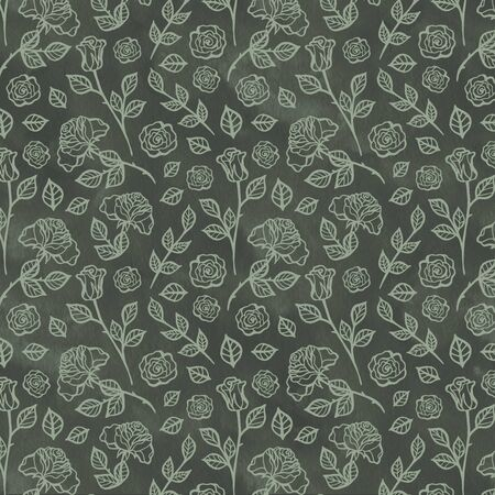Hand Drawn Roses, Mimicking Folk Embroidery Stitches, on Dark Blue Background Floral Seamless Pattern
