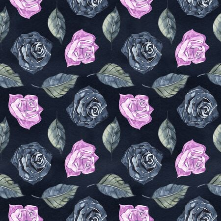 Hand Drawn Roses, Mimicking Folk Embroidery Stitches, on Dark Blue Background Floral Seamless Pattern 版權商用圖片 - 131699662