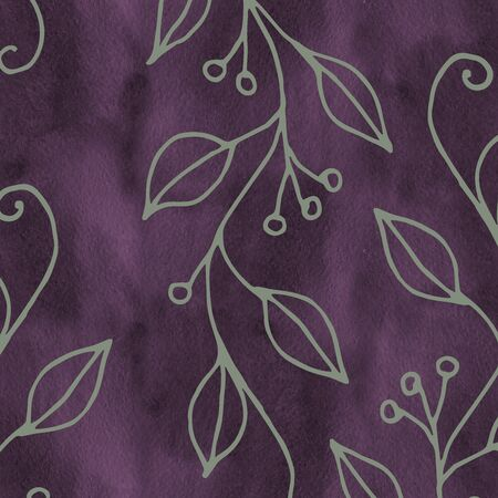Seamless pattern with floral elements. Hand drawn ornament with violet twigs and flowers. Perfect for greetings, invitations, manufacture wrapping paper, textile, web design.