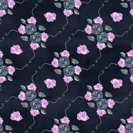 Watercolor seamless pattern with roses. Background for web pages, wedding invitations, save the date cards. Stock Photo