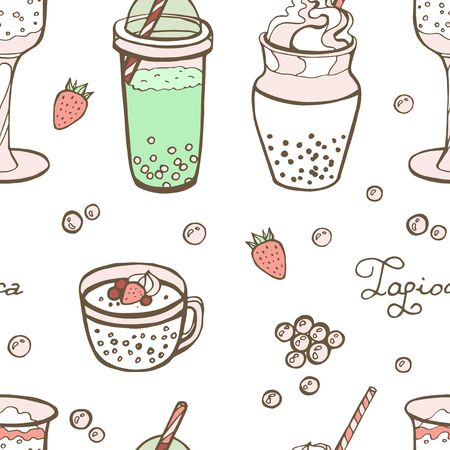 Bubble tea or Pearl milk tea cartoon seamless pattern, vector illustration