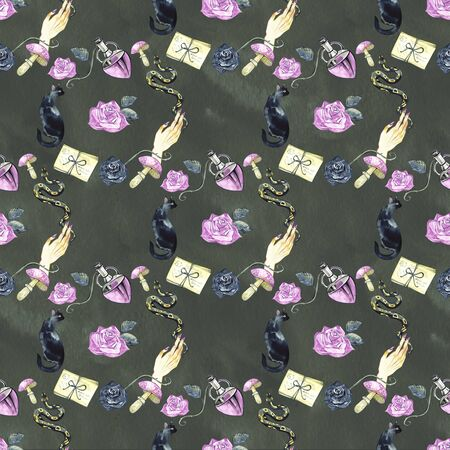 Seamless pattern with magic things. Witchs background. Halloween mistical design.