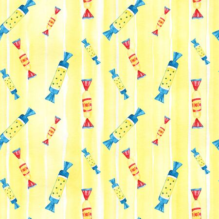 Seamless background with watercolor candies. Sweet pattern.