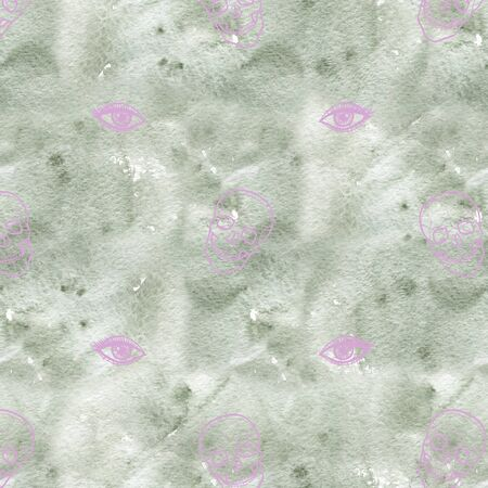 Skull with eyes. Cute Halloween background. Seamless pattern background. Stock fotó - 132033032