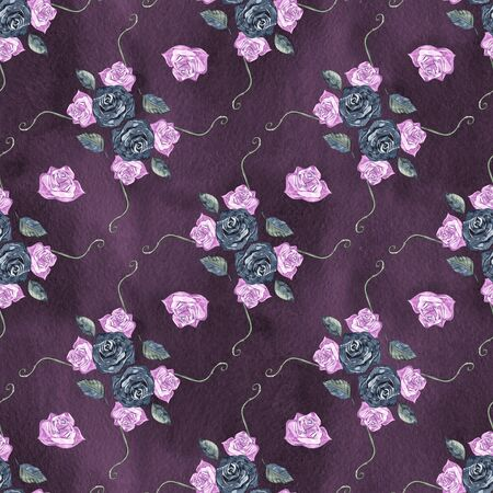 Floral seamless pattern with pink twig and leaves.