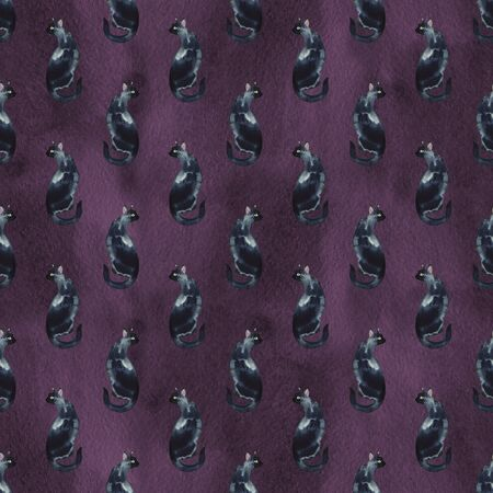 Seamless pattern with watercolor silhouette of black cat with long tail.
