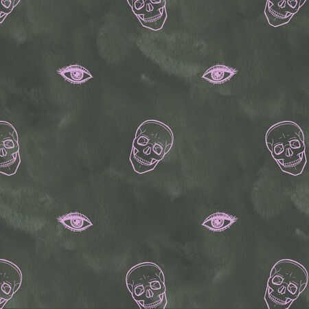 Skull with eyes. Cute Halloween background. Seamless pattern background. Stock fotó