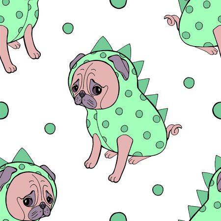 Seamless pug puppy illustration for kids dog background pattern in vector