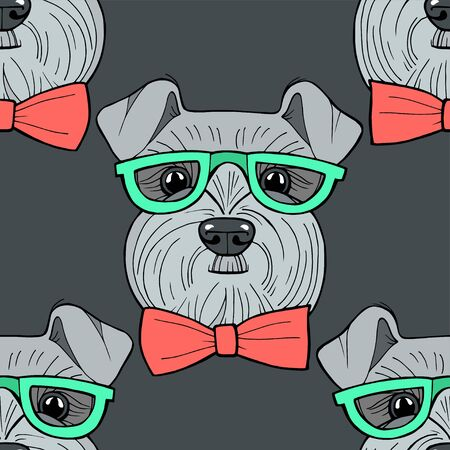 Cute hipster hand drawn vector seamless pattern sketching of schnauzer. Use for postcards, print for t-shirts, textile. Realistic animal portrait. 스톡 콘텐츠