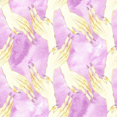 Seamless pattern with hands. Watercolor illustration. Astrology, Sacred Spirit. Masonic sign
