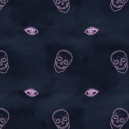 Skull with eyes. Cute Halloween background. Seamless pattern background. Stock fotó - 132033262