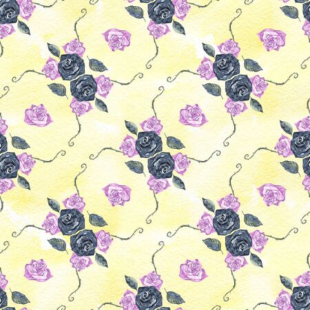Rose. Seamless pattern with flowers. Hand-drawn original floral background. Real watercolor drawing.