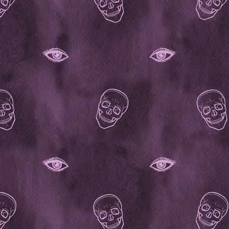 Skull with eyes on dark