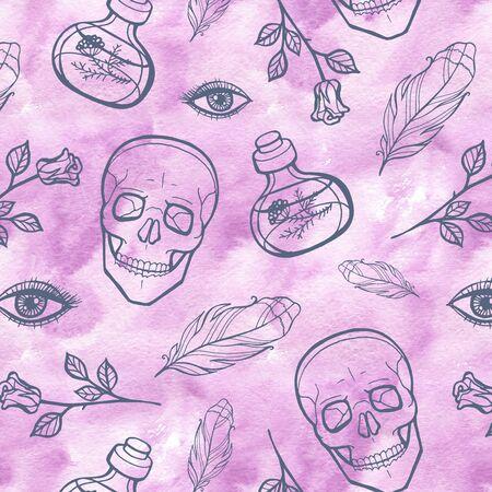 Watercolor line seamless skull pattern. Halloween design. 写真素材