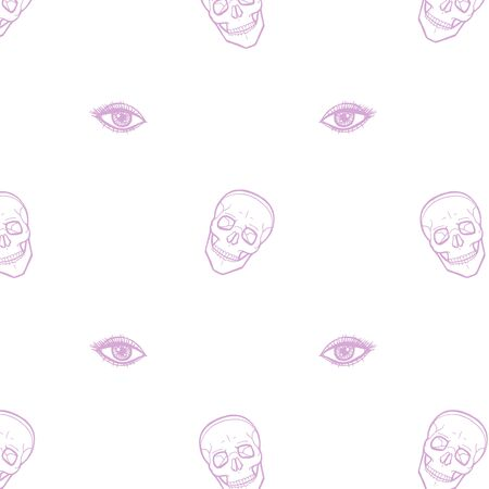 Skull with eyes on white 写真素材