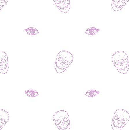 Skull with eyes on white Stok Fotoğraf