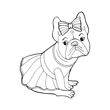 Beautiful dog in a dress and with a bow. Çizim