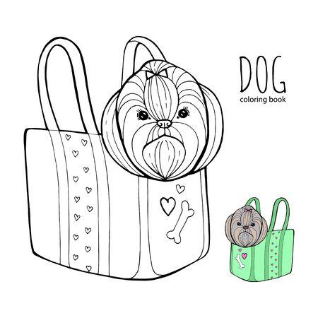 Shih Tzu dog line art, tribal. Freehand vector illustration.