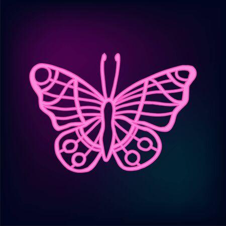 Neon tropic butterflies set vector. Illustration of hand drawn butteflies.