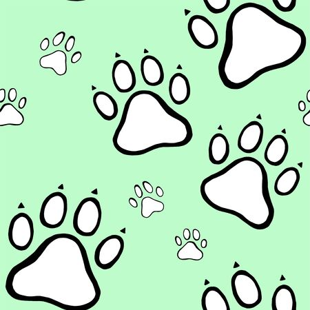 Traces of dog seamless pattern background. Vector wallpaper. Seamless pattern.