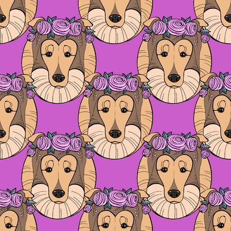 Collie dog with flower wreath seamless pattern. Vector illustration.