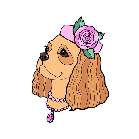 Cavalier King Charles Spaniel Puppy with a princess hat with flowers. Vector illustration.