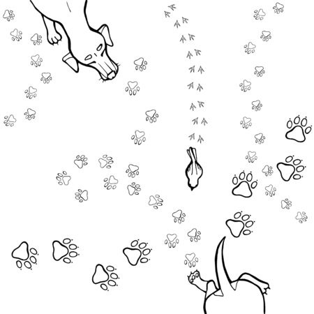 Vector print with animal paw tracks. The dog on a walk after the first snow.