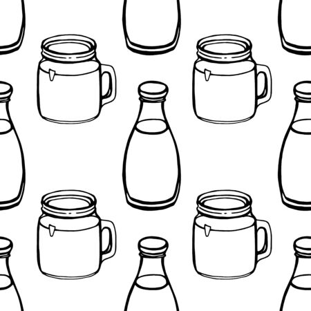 Milk hand draw seamless pattern. Vector bottle isolated on white background, Digital paper  イラスト・ベクター素材