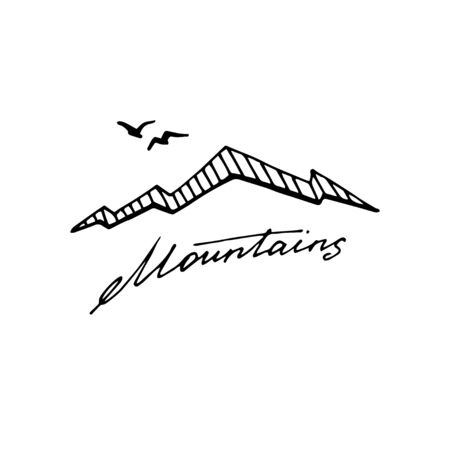 Vector mountain sketch logo. Hand drawn illustration isolated on white background