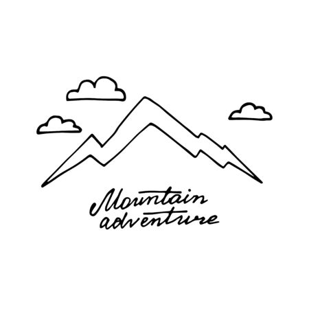 Vector hand drawn mountain sketch logo. Illustration on a white background. Freedom concept.  イラスト・ベクター素材
