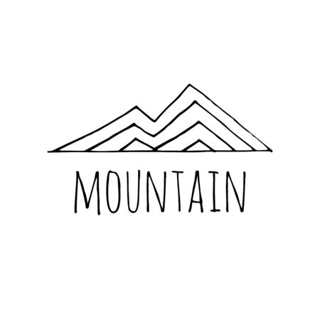 Vector hand drawn mountain sketch logo. Illustration on a white background. Freedom concept. 写真素材 - 133269347