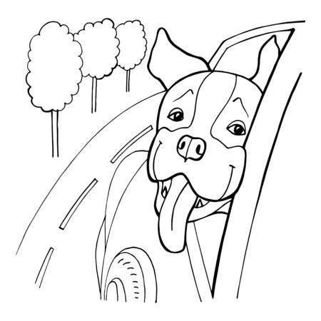 Black and White Cartoon Vector Illustration of Funny Dog in the Car for Coloring Book 写真素材 - 133269350