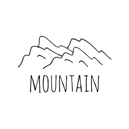 Vector mountain sketch logo. Hand drawn illustration isolated on white background 写真素材 - 133269489