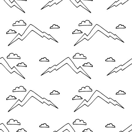 Mountain hand draw seamless pattern. Vector Digital paper