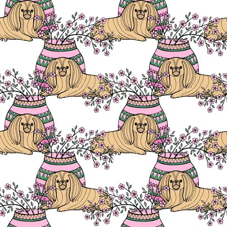Pekingese. Decorative breed dogs. Seamless pattern. Vector illustration. Pekinese. 写真素材 - 133269491