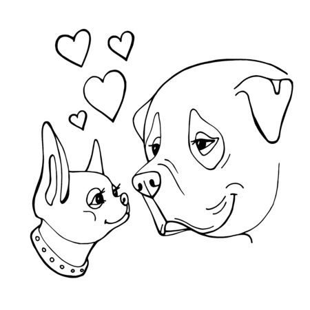 Two cute hand drawn dogs. Valentines day greeting card. Vector illustration.