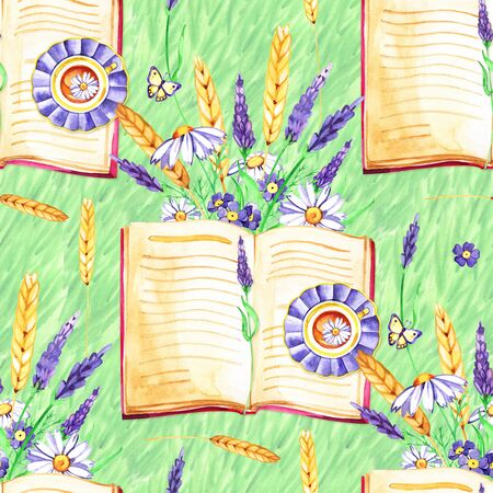 Watercolor background. Seamless pattern. Flowers Pansies, lavender , botany and books. White background. 写真素材 - 133269498