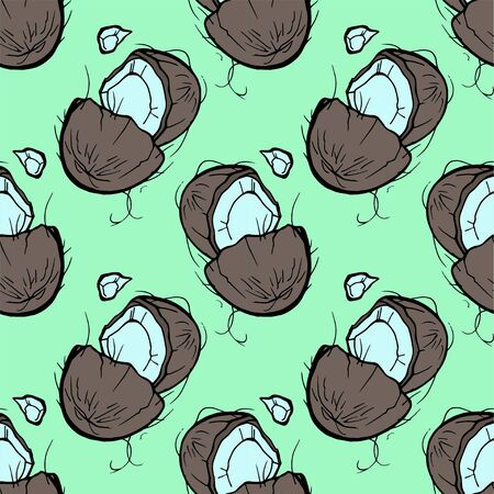 Coconut hand draw seamless pattern. Vector coco isolated on white background, Digital paper