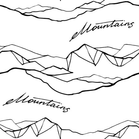 Mountain hand draw seamless pattern. Vector Digital paper 写真素材 - 133269640