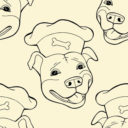 Pit bull Terrier in a chefs cap. Seamless pattern, digital paper Vector illustration. Vector logo pure-bred 写真素材 - 133269690