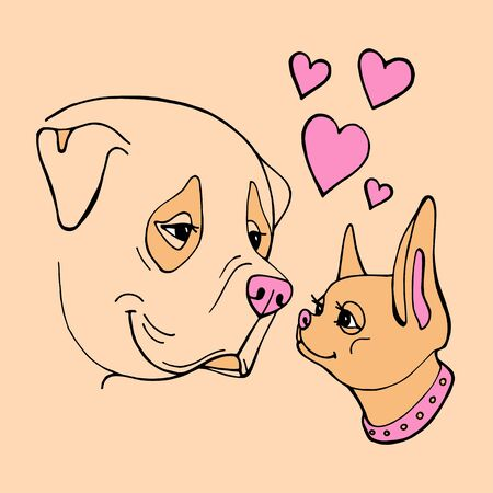 Two cute hand drawn dogs. Valentines day greeting card. Vector illustration. 写真素材 - 133269691