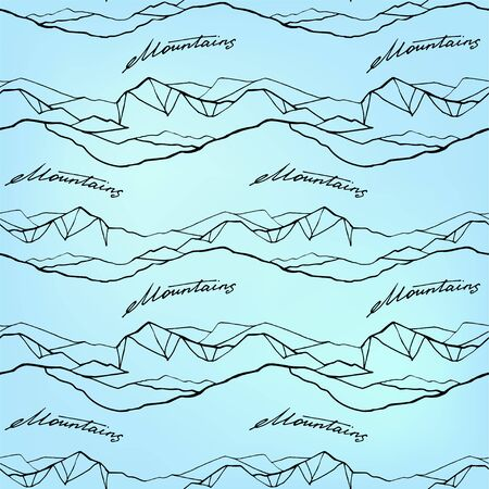 Mountain hand draw seamless pattern. Vector Digital paper 写真素材 - 133269719