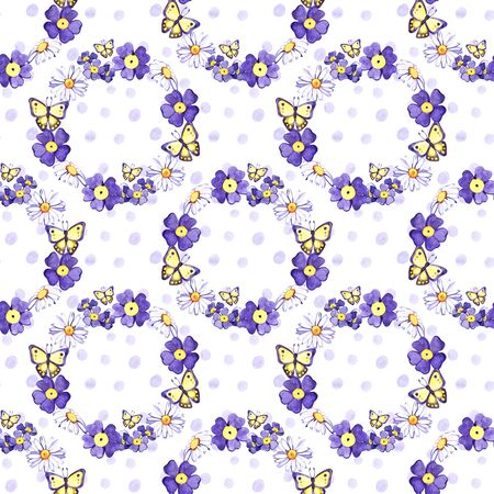 Watercolor hand painted provence village seamless pattern