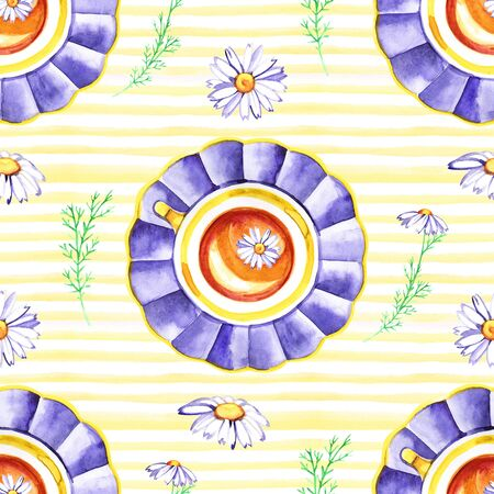 Watercolor hand painted provence village seamless pattern. 写真素材 - 133269853