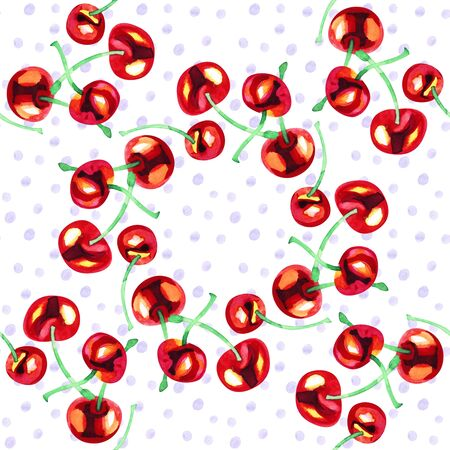 Watercolor seamless pattern with cherries. Hand drawn design. Hand drawn illustration.