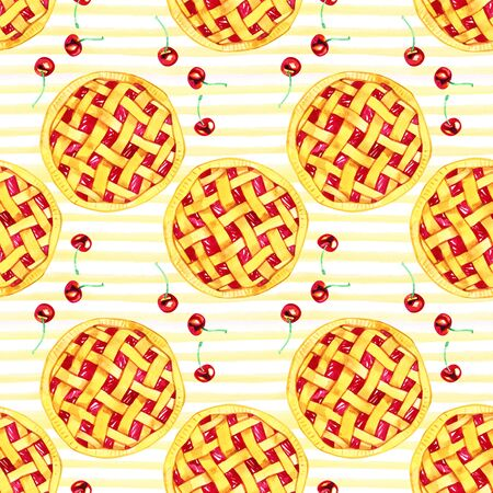 Watercolor seamless pattern with cherries. Hand drawn design. Hand drawn illustration