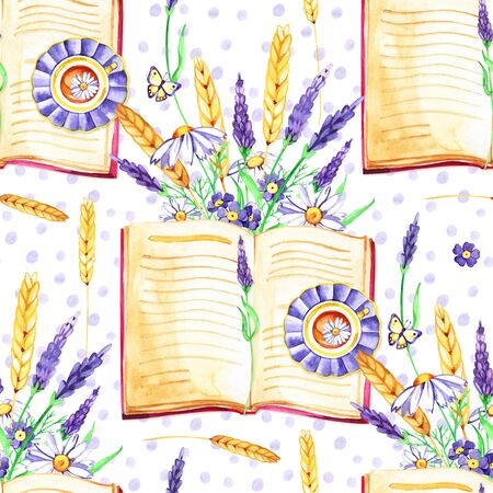 Watercolor background. Seamless pattern. Flowers Pansies, lavender , botany and books White background