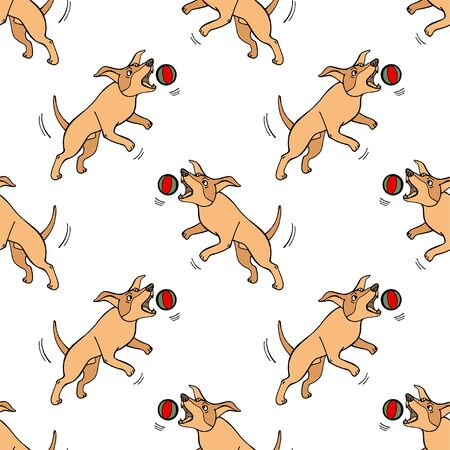 Hand drawn doodle cute dogs. Seamless pattern with playing pets with ball. Artistic canine vector characters. Background with sketchy domestic animals