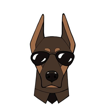 Beautiful dog with glasses and tie. Vector illustration for a card or poster.